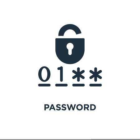 Password icon. Black filled vector illustration. Password symbol on white background. Can be used in web and mobile.