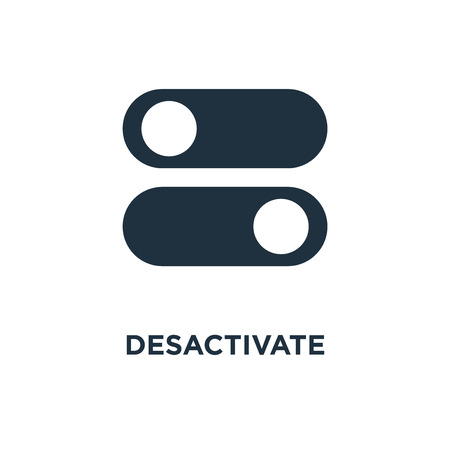 Desactivate icon. Black filled vector illustration. Desactivate symbol on white background. Can be used in web and mobile.