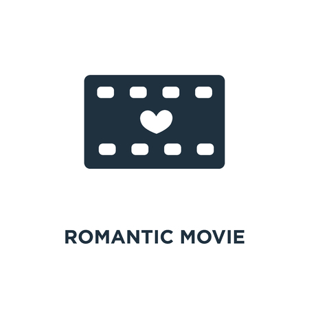 Romantic movie icon. Black filled vector illustration. Romantic movie symbol on white background. Can be used in web and mobile.