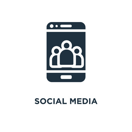 Social media icon. Black filled vector illustration. Social media symbol on white background. Can be used in web and mobile. 向量圖像