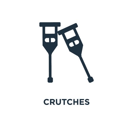 Crutches icon. Black filled vector illustration. Crutches symbol on white background. Can be used in web and mobile.
