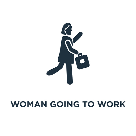 Woman Going To Work icon. Black filled vector illustration. Woman Going To Work symbol on white background. Can be used in web and mobile. Banque d'images - 112692005