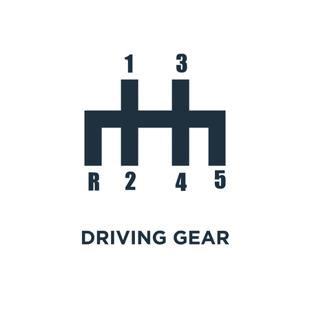 Driving gear controls icon. Black filled vector illustration. Driving gear controls symbol on white background. Can be used in web and mobile. Archivio Fotografico - 112746005