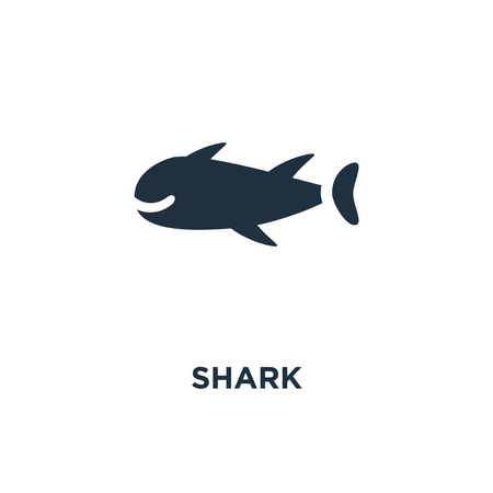 Shark icon. Black filled vector illustration. Shark symbol on white background. Can be used in web and mobile.