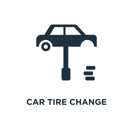 Car tire change icon. Black filled vector illustration. Car tire change symbol on white background. Can be used in web and mobile.