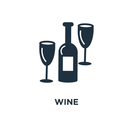 Wine icon. Black filled vector illustration. Wine symbol on white background. Can be used in web and mobile.