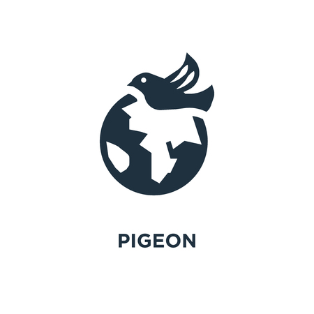 Pigeon icon. Black filled vector illustration. Pigeon symbol on white background. Can be used in web and mobile.