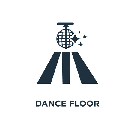 Dance floor icon. Black filled vector illustration. Dance floor symbol on white background. Can be used in web and mobile.