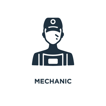 Mechanic icon. Black filled vector illustration. Mechanic symbol on white background. Can be used in web and mobile.