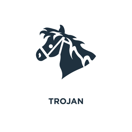 Trojan icon. Black filled vector illustration. Trojan symbol on white background. Can be used in web and mobile.