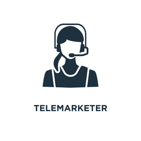 Telemarketer icon. Black filled vector illustration. Telemarketer symbol on white background. Can be used in web and mobile. Illusztráció