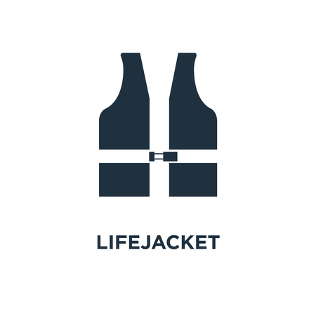 Lifejacket icon. Black filled vector illustration. Lifejacket symbol on white background. Can be used in web and mobile.