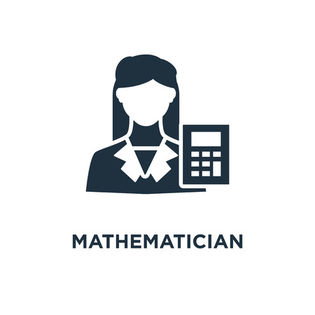 Mathematician icon. Black filled vector illustration. Mathematician symbol on white background. Can be used in web and mobile. Illustration