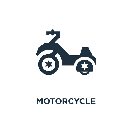 Motorcycle icon. Black filled vector illustration. Motorcycle symbol on white background. Can be used in web and mobile.