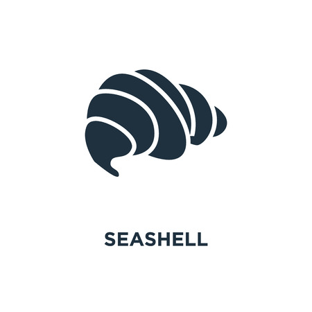 Seashell icon. Black filled vector illustration. Seashell symbol on white background. Can be used in web and mobile.
