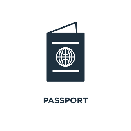 Passport icon. Black filled vector illustration. Passport symbol on white background. Can be used in web and mobile. Illustration