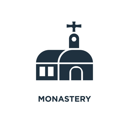 Monastery icon. Black filled vector illustration. Monastery symbol on white background. Can be used in web and mobile.
