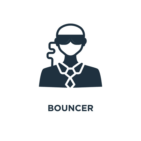 Bouncer icon. Black filled vector illustration. Bouncer symbol on white background. Can be used in web and mobile.