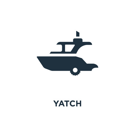 Yatch icon. Black filled vector illustration. Yatch symbol on white background. Can be used in web and mobile. Vettoriali