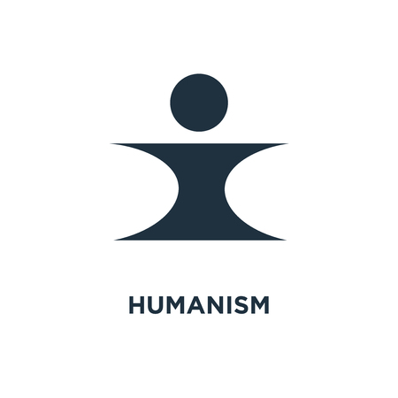 Humanism icon. Black filled vector illustration. Humanism symbol on white background. Can be used in web and mobile.
