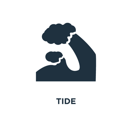 Tide icon. Black filled vector illustration. Tide symbol on white background. Can be used in web and mobile.