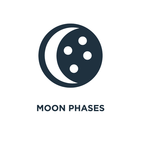 Moon phases icon. Black filled vector illustration. Moon phases symbol on white background. Can be used in web and mobile.