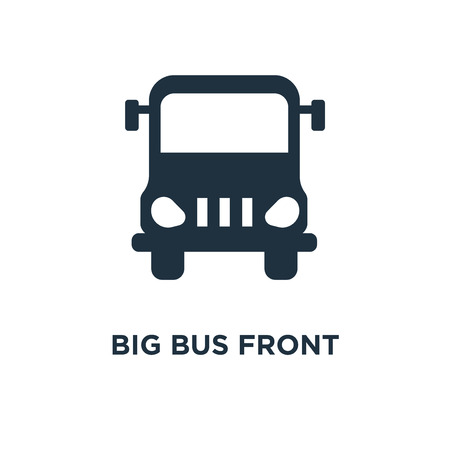 Big Bus front icon. Black filled vector illustration. Big Bus front symbol on white background. Can be used in web and mobile.