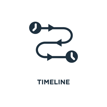 Timeline icon. Black filled vector illustration. Timeline symbol on white background. Can be used in web and mobile.