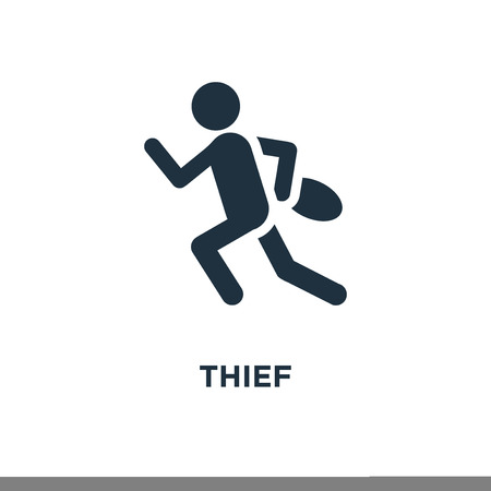 Thief icon. Black filled vector illustration. Thief symbol on white background. Can be used in web and mobile. Illustration