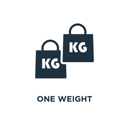 One Weight icon. Black filled vector illustration. One Weight symbol on white background. Can be used in web and mobile.