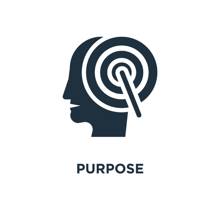 Purpose icon. Black filled vector illustration. Purpose symbol on white background. Can be used in web and mobile.