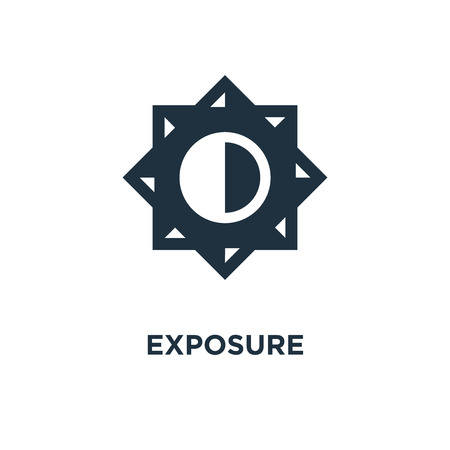 Exposure icon. Black filled vector illustration. Exposure symbol on white background. Can be used in web and mobile. Stock Vector - 112748918