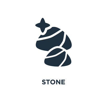 Stone icon. Black filled vector illustration. Stone symbol on white background. Can be used in web and mobile.