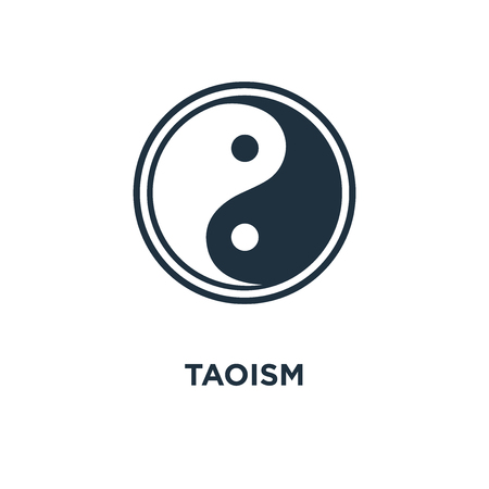 Taoism icon. Black filled vector illustration. Taoism symbol on white background. Can be used in web and mobile.