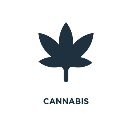 Cannabis icon. Black filled vector illustration. Cannabis symbol on white background. Can be used in web and mobile. Illustration