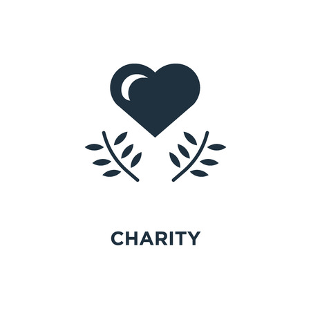 Charity icon. Black filled vector illustration. Charity symbol on white background. Can be used in web and mobile.