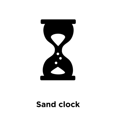 Sand clock icon vector isolated on white background, logo concept of Sand clock sign on transparent background, filled black symbol Illustration