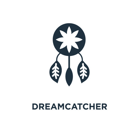 Dreamcatcher icon. Black filled vector illustration. Dreamcatcher symbol on white background. Can be used in web and mobile. Illustration