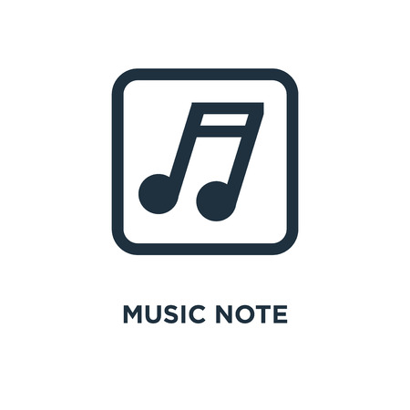 Music Note icon. Black filled vector illustration. Music Note symbol on white background. Can be used in web and mobile.