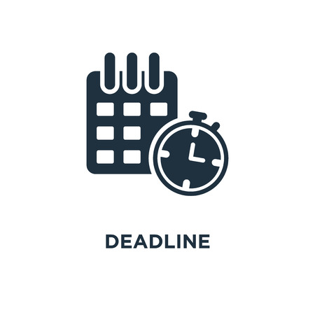 Deadline icon. Black filled vector illustration. Deadline symbol on white background. Can be used in web and mobile.