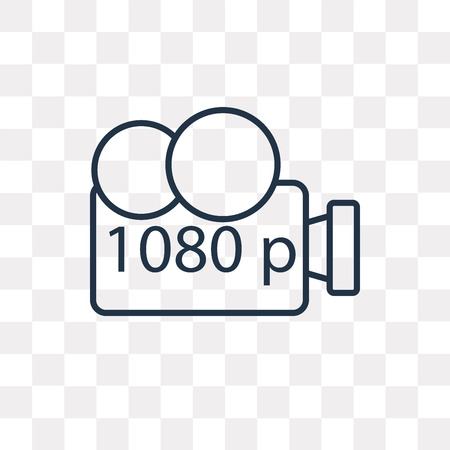 1080p Full HD vector outline icon isolated on transparent background, high quality linear 1080p Full HD transparency concept can be used web and mobile
