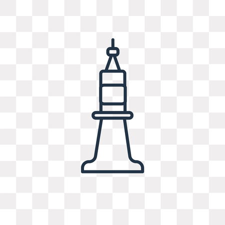 Tower vector outline icon isolated on transparent background, high quality linear Tower transparency concept can be used web and mobile