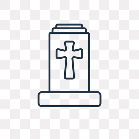 Christian Cemetery vector outline icon isolated on transparent background, high quality linear Christian Cemetery transparency concept can be used web and mobile Illustration