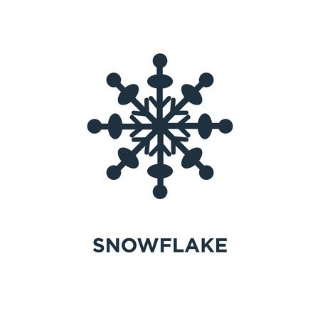 Snowflake icon. Black filled vector illustration. Snowflake symbol on white background. Can be used in web and mobile. Stock Vector - 111333989
