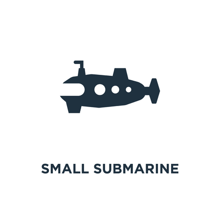 Small submarine icon. Black filled vector illustration. Small submarine symbol on white background. Can be used in web and mobile. Illustration