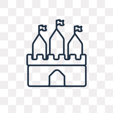 Castle vector outline icon isolated on transparent background, high quality linear Castle transparency concept can be used web and mobile Stok Fotoğraf - 112750991