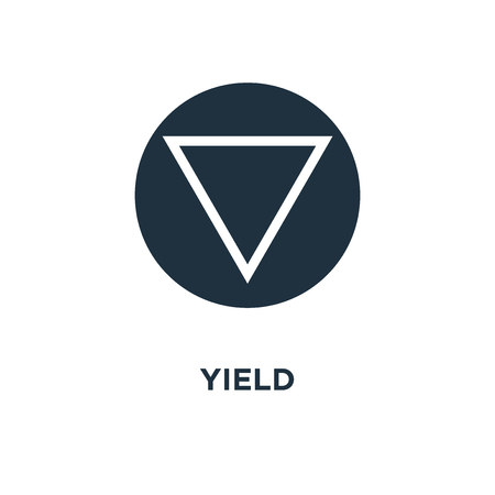 Yield icon. Black filled vector illustration. Yield symbol on white background. Can be used in web and mobile.