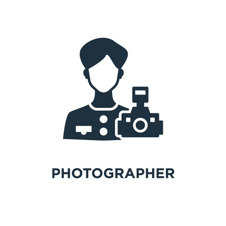 Photographer icon. Black filled vector illustration. Photographer symbol on white background. Can be used in web and mobile.