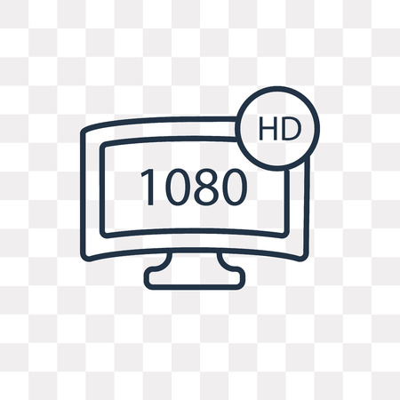 1080p HD tv vector outline icon isolated on transparent background, high quality linear 1080p HD tv transparency concept can be used web and mobile Illustration
