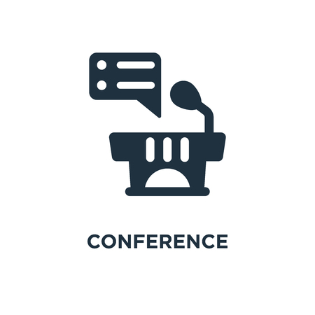 Conference icon. Black filled vector illustration. Conference symbol on white background. Can be used in web and mobile.